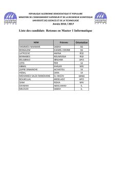 Liste des retenus en M1 et M2 Informatique pour l`année