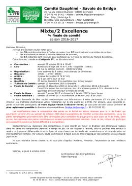 Mixte/2 Excellence - Comité Dauphiné Savoie de Bridge