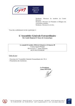 Invitation AGE - Comité Régional d`Alsace de Gymnastique