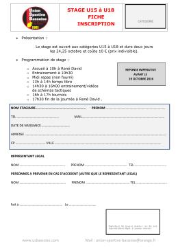 Télécharger le bulletin d`inscription
