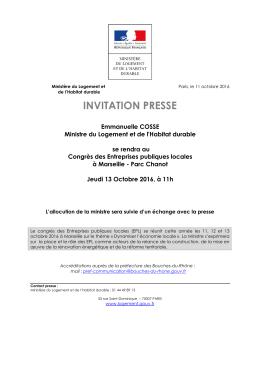 L`invitation presse - Ministère du Logement et de l`Habitat durable