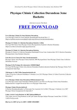 physique chimie collection durandeau 3eme hachette pdf