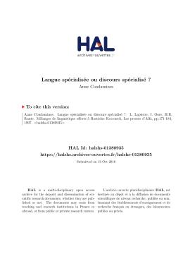 Langue spécialisée ou discours spécialisé - Hal-SHS