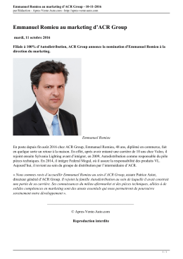 Emmanuel Romieu au marketing d`ACR Group - Apres-Vente