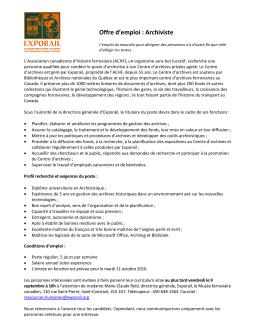 Offre d`emploi : Archiviste - Société des musées du Québec