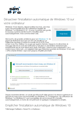 Désactiver l`installation automatique de Windows 10 sur