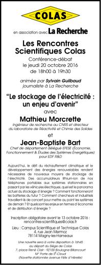 Jeudi 20 Octobre 2016 « Le stockage de l`électricité : un
