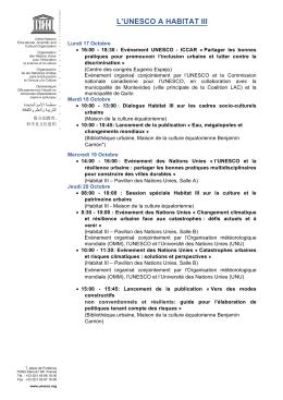 L`UNESCO A HABITAT III