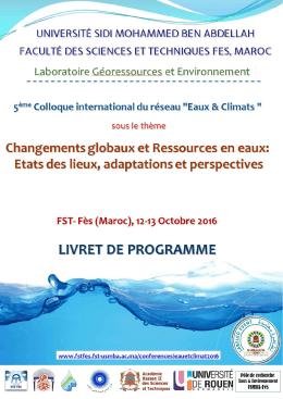 5ème colloque international du réseau Eaux et Climats