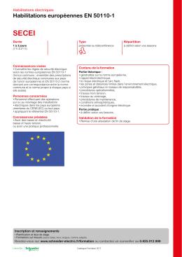 Habilitations européennes EN 50110-1