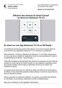 En direct sur Swisscom TV 2.0