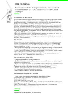 OFFRE D`EMPLOI - Réseau documents d`artistes