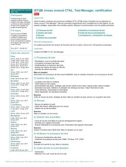 ISTQB niveau avancé CTAL, Test Manager, certification