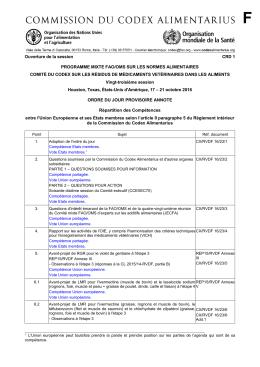 Ouverture de la session CRD 1 PROGRAMME MIXTE FAO/OMS
