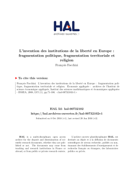 L`invention des institutions de la liberté en Europe - univ-paris1