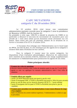 CAPC MUTATIONS catégorie C du 10 octobre 2016