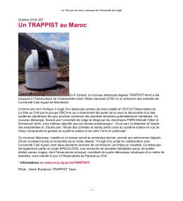 Un TRAPPIST au Maroc - Le 15e jour du mois