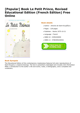 Book Le Petit Prince, Revised Educational Edition (French
