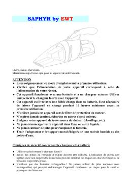 mode d`emploi pour aspirateur rechargeable modele hv-937