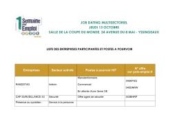Consultez la liste des entreprises participantes et des offres à pourvoir