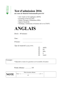 Test d`admission 2016