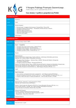 Program_V Kongres Polskiego Przemysłu Gazowniczego